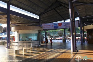 Old Yishun Bus Interchange (March 2015) - Interchange Concourse with TransitLink Ticket Office (left) and Canteen (right)