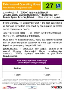 Service 27 extension of operating hours