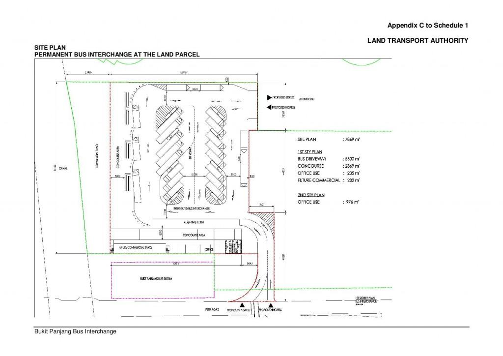 Bukit Panjang Bus Interchange layout  Source: URA Sales of Sites - Land Parcel at Jelebu Rd / Petir Rd website, Oct 2011