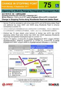 Bukit Panjang ITH Opening - Service 75 Poster