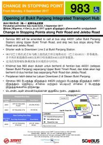 Bukit Panjang ITH Opening - Service 983 Poster