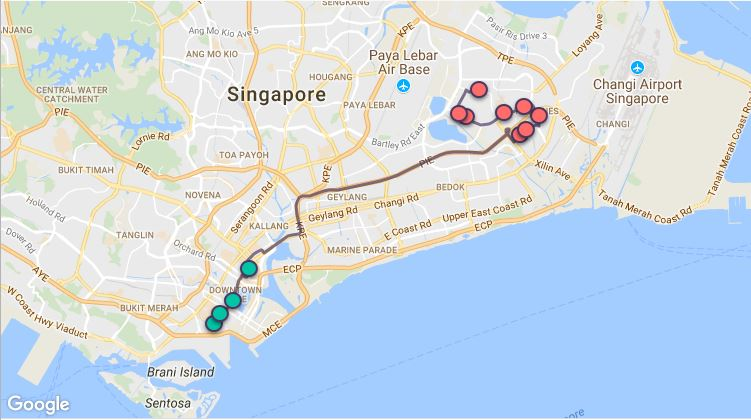 Route G103 at a glance. Map Image: Beeline.sg