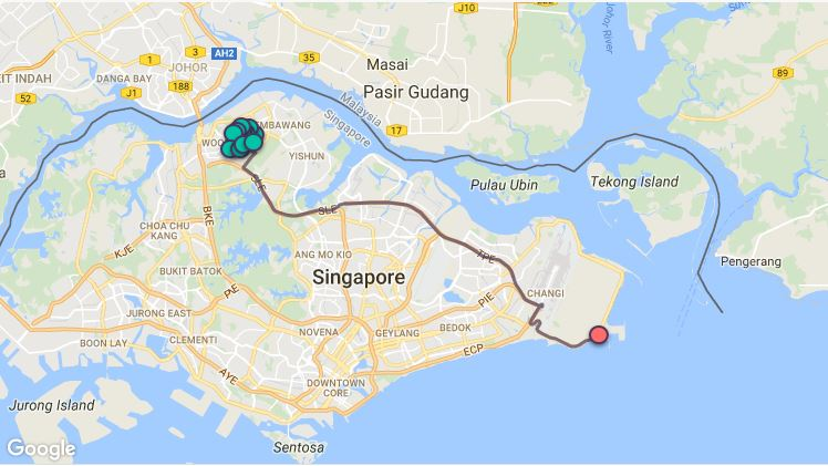 Route G107 at a glance. Map Image: Beeline.sg