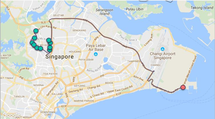 Route G108 at a glance. Map Image: Beeline.sg