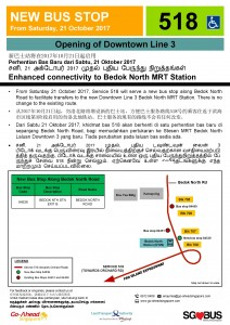 New Bus Stop at Bedok North MRT Station (Service 518)