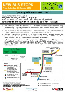 New Bus Stops at Tampines East MRT Station (Services 3, 12, 17, 34, 518)