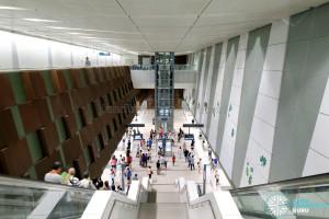 Bedok North MRT Station - Overhead view of platform