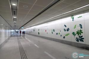 Bedok North MRT Station - Art In Transit along pedestrian walkway