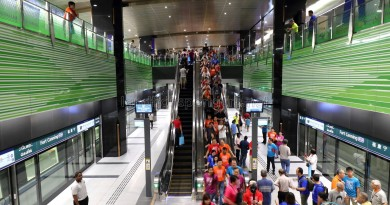 Fort Canning MRT Station - Overhead view of Platform