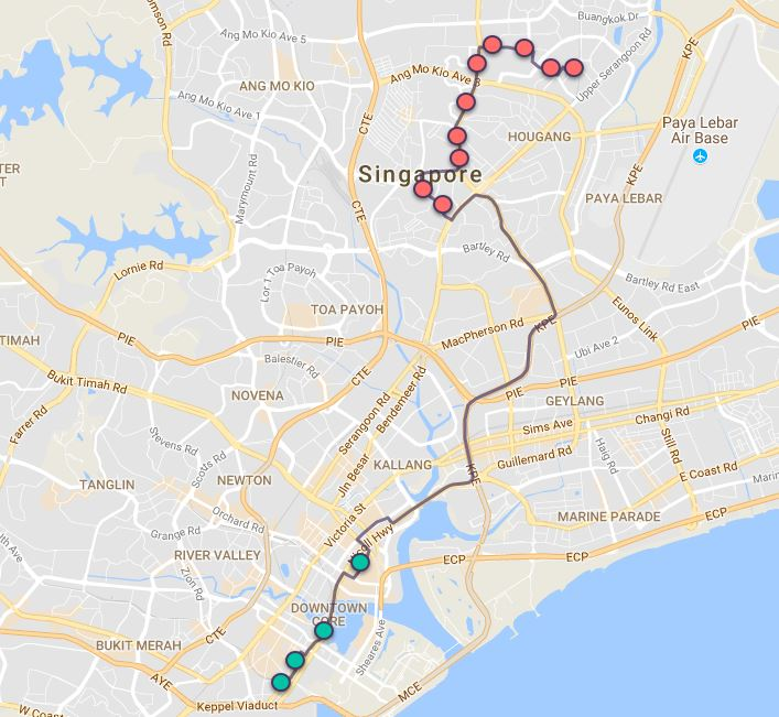 Route G104 at a glance. Map Image: Beeline.sg