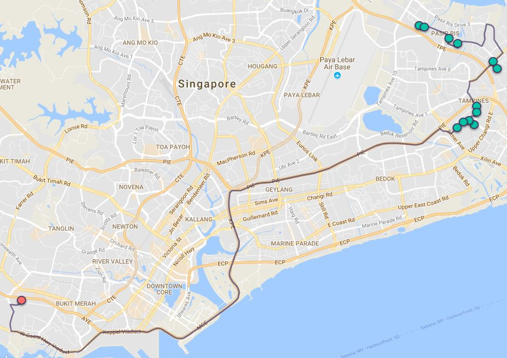 Route G67 at a glance. Map Image: Beeline.sg