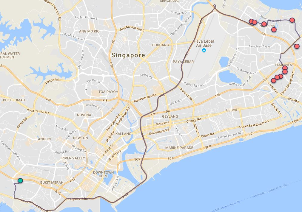 Route G68 at a glance. Map Image: Beeline.sg