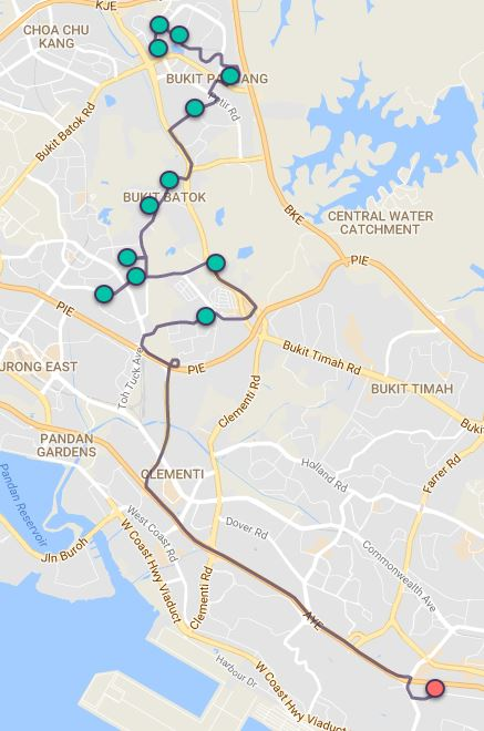 Route G69 at a glance. Map Image: Beeline.sg