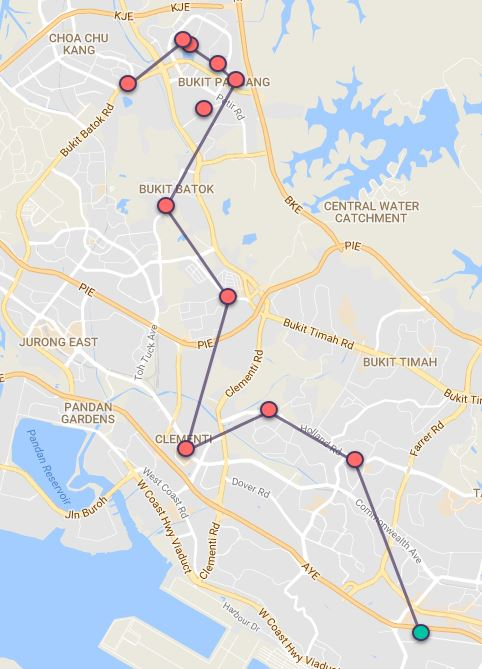 Route G70 at a glance. Map Image: Beeline.sg