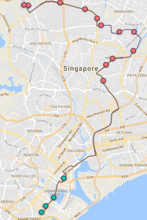 Route G84 at a glance. Map Image: Beeline.sg