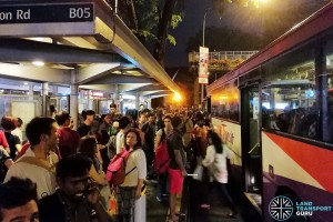Crowds at Novena Station attempting to board buses