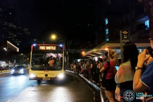 A packed Free Bridging Bus departing Novena MRT station