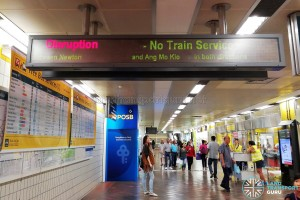Train service suspended, as reflected on an information board in Toa Payoh station