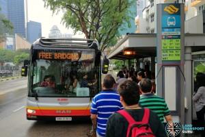 SMRT MAN NL323F deployed on the Free Bridging Bus service