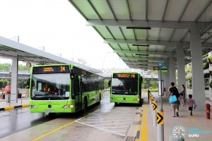 Terminal 4 Bus Stop in use