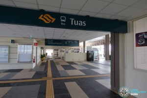 Tuas Bus Terminal - Pedestrian entrance from lift lobby leading to concourse