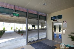 Tuas Bus Terminal - Lift lobby leading to terminal at ground level