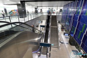 Ubi MRT Station - Overhead view of Platform level