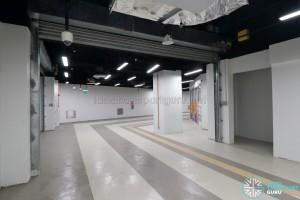 Upper Changi MRT Station - Basement corridor with retail space