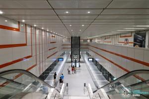 Upper Changi MRT Station - Overhead view of Platform level