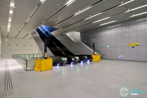 Upper Changi MRT Station - Basement level with exit to surface