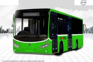Volvo Hybrid Bus Illustration (Front)