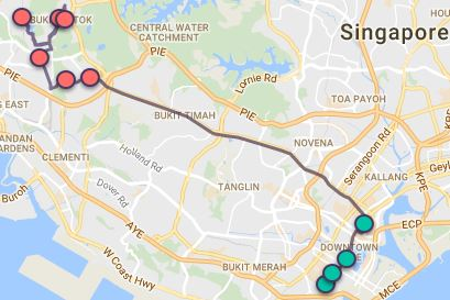 Route G85 at a glance. Map Image: Beeline.sg