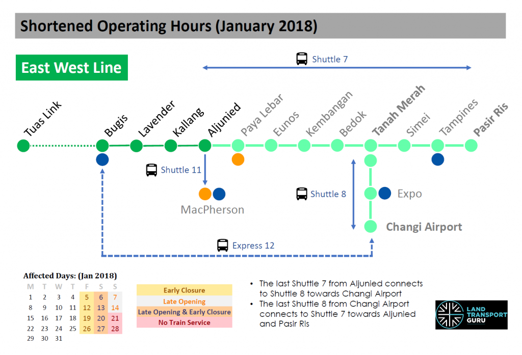EWL Shortened Operating Hours (Jan 2018)
