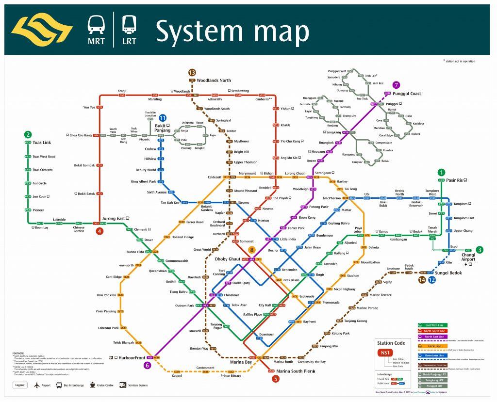 MRT Network Map as of November 2017