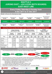 Updated NSEWL Early Closure / Late Opening Dec 2017 - Jurong East - Joo Koon Shuttle (Shuttle 2)