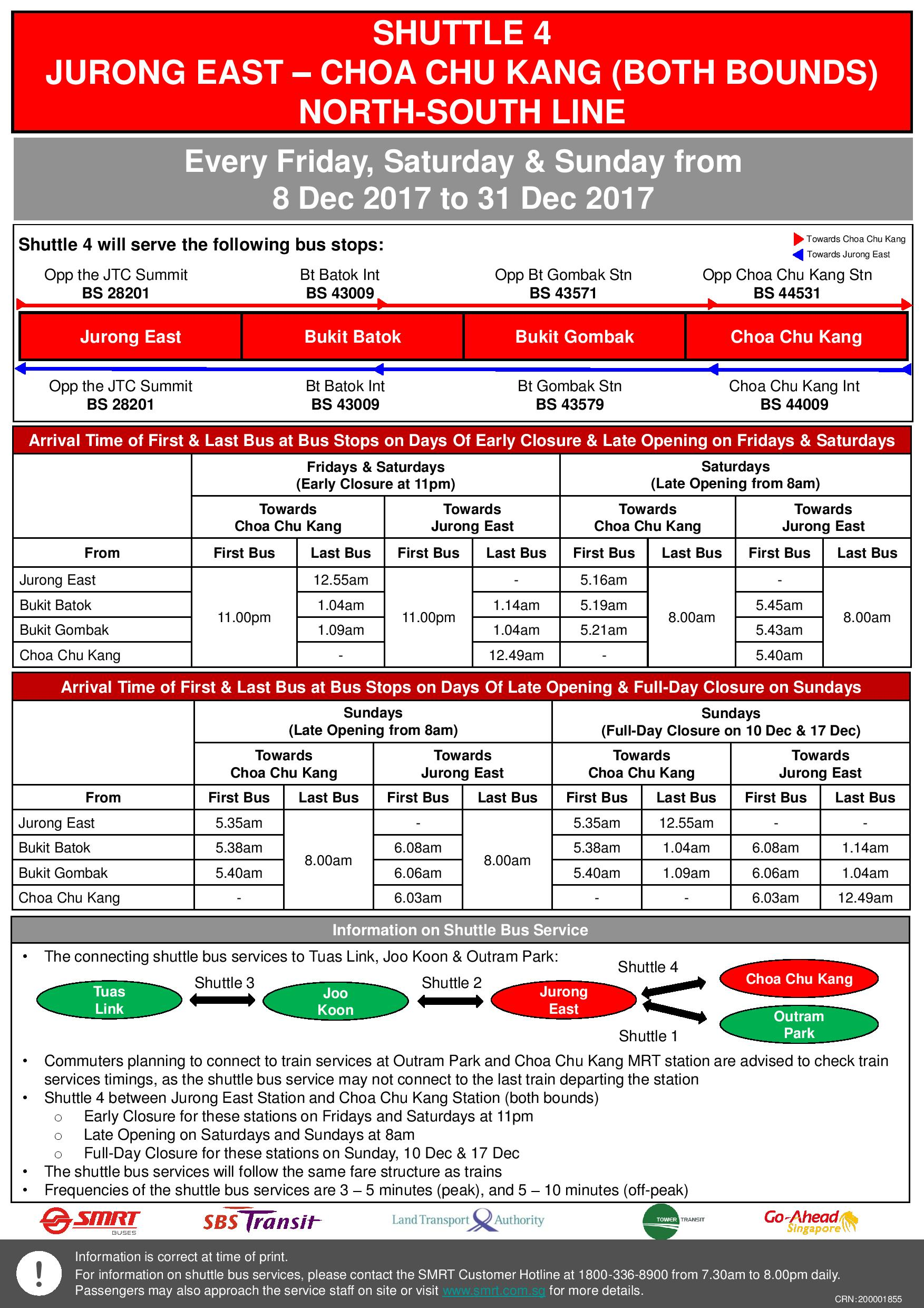 Updated NSEWL Early Closure / Late Opening Dec 2017 - Jurong East - Choa Chu Kang Shuttle (Shuttle 4)