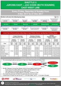 NSEWL Early Closure / Late Opening Dec 2017 - Jurong East - Joo Koon Shuttle