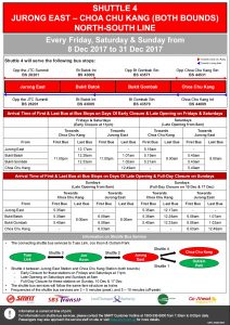 NSEWL Early Closure / Late Opening Dec 2017 - Jurong East - Choa Chu Kang Shuttle