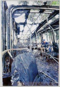 Charred interior of TIB1105H (Straits Times photo)