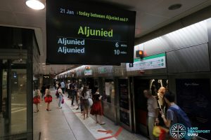 Eastbound Trains terminating at Aljunied during periods of closure