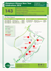 Tower Transit Bus Diversion Poster for Chinatown Chinese New Year Celebrations 2018