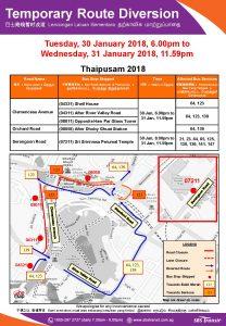 SBS Transit Bus Diversion Poster for Thaipusam 2018