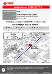 SMRT Buses Bus Diversion Poster for Thaipusam 2018