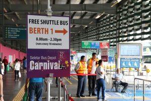 Seletar Bus Depot Carnival Shuttle Bus Queue at Yishun