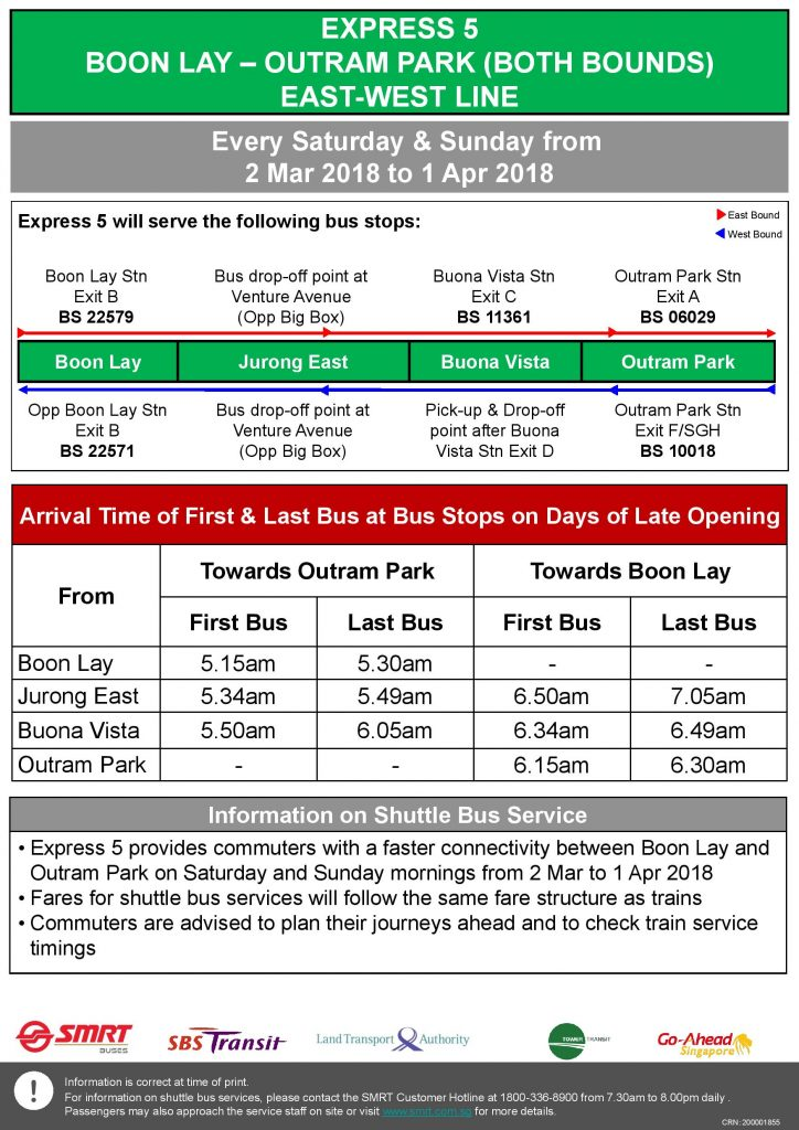 Express 5 (Boon Lay - Outram Park) Departure Timings from Stations