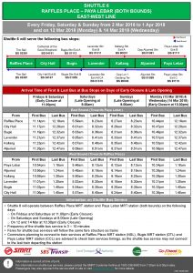 Shuttle 6 (Raffles Place - Paya Lebar) Departure Timings from Stations