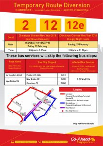 Go-Ahead Singapore Bus Diversion Poster for Chinese New Year Eve & Chingay Night Fiesta 2018