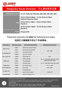 SMRT Buses Bus Diversion Poster for Chingay 2018