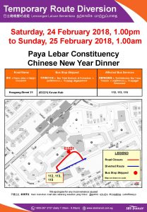 SBS Transit Bus Diversion Poster for Paya Lebar Constituency Chinese New Year Dinner