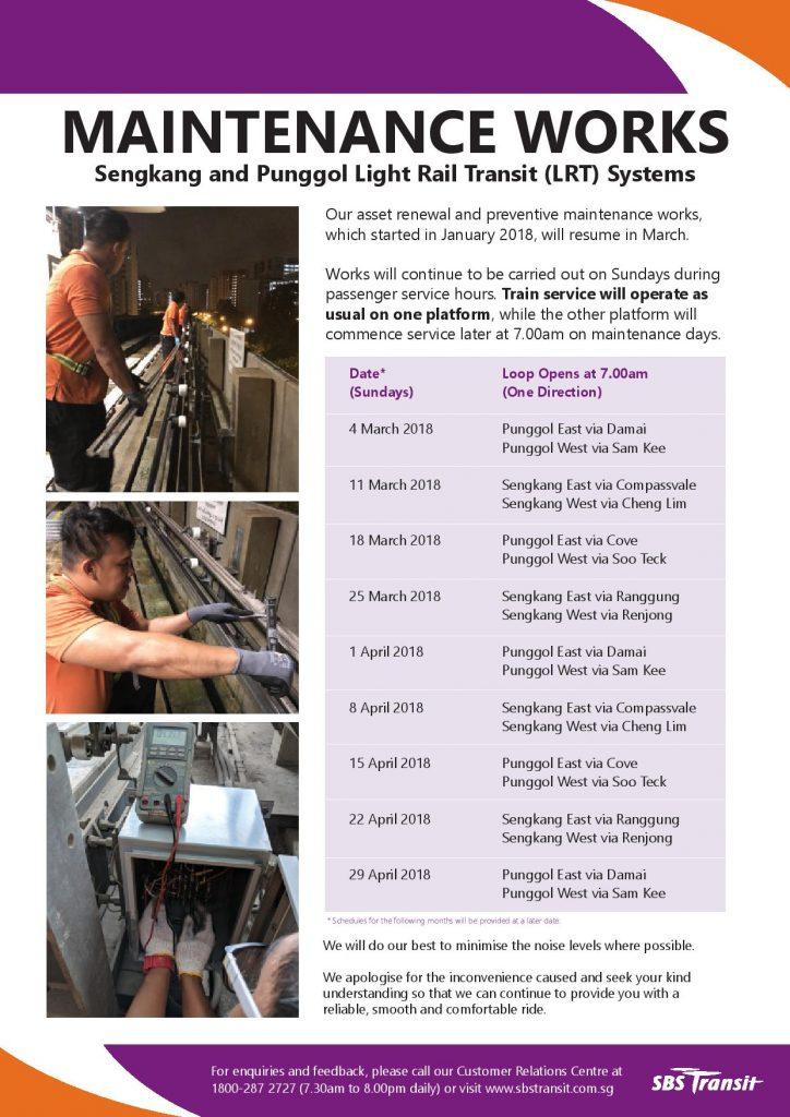 Maintenance Works Poster for Sengkang & Punggol LRT in Mar & Apr 2018